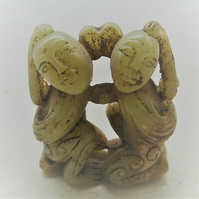 Ancient Chinese Jade Stone Carving Two Entwined Figures Superb