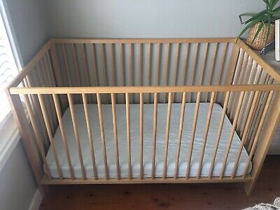 Ikea Gulliver Cot with Mattress, Birch colour. Excellent Condition