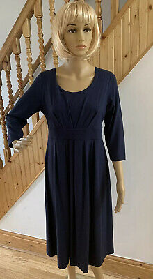 Ladies Navy Cotswold Long Sleeve Smart Flattering Stretchy Dress Size Small