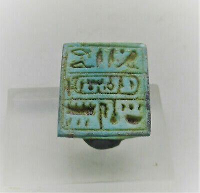Circa 500Bce Ancient Egyptian Glazed Faience Ring With H/Glyphs On Bezel Rare