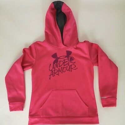Under Armour Youth Girls Large Loose Women's XS Pullover Hoodie Sweatshirt Pink