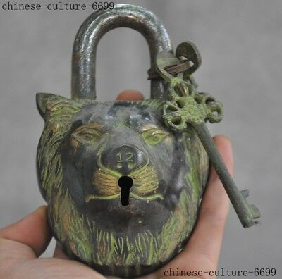 Old Chinese Dynasty Bronze lion lions head Statue Ancient Lock & Key Set
