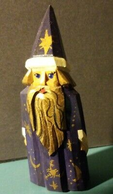 Vintage Mystical Wizard Gnome Hand Carved Wood Painted Figure Celestial Stars