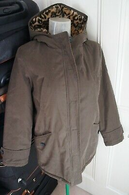 Bonpoint Girls Khaki  Dublin Parker coat with faux fur lining age 12 RRP £500