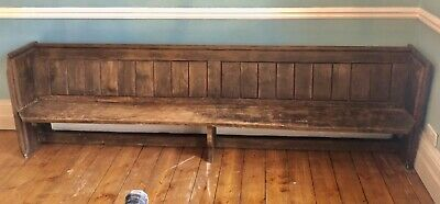 Very Long Antique Church Pew Bench Wooden, Aged, Distressed, 2.83 cm Long