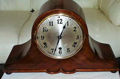 ANTIQUE JUNGHANS WESTMINSTER CHIMING 8-DAY MAHOGANY CASE MANTLE CLOCK c1900.