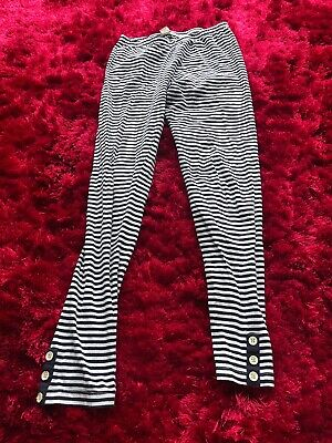 TU navy blue white striped leggings with button detail girls age 10-11 years