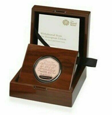 Withdrawal from the European Union Brexit 2020 UK 50p Gold Proof Coin COA