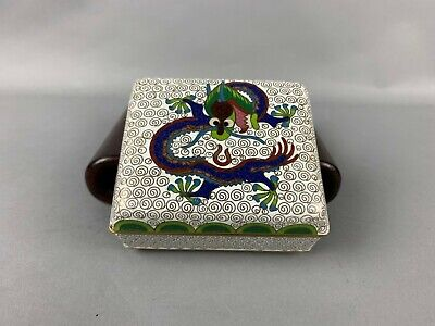 19th/20th C. Chinese Cloisonné Dragon Rectangular Box And Fitted Cover