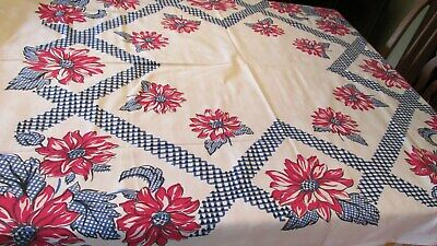 """""Blue Checked Lattice & Large Red Flowers - Cotton Tablecloth"""" - Vintage"