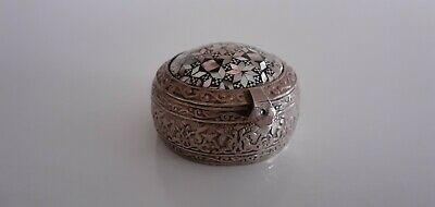 Antique Colonial Anglo Indian Solid Silver Round inlaid & Chased Trinket Box.