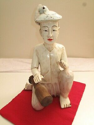 Vtg Antique Carved Wooden Asian Figure Japanese Boy W Mallet In Paint