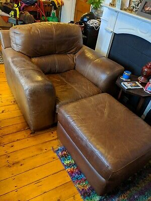 Brown Faux Leather Worn Armchair with Matching Footstool