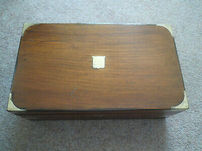 Antique Victorian 19th Century Brass Bound Campaign Writing Slope Box nice item.