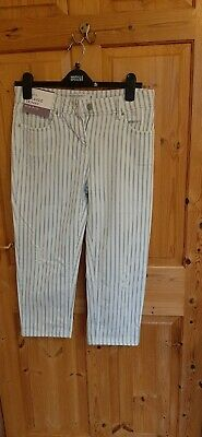 NEXT New Size 8 Ladies Cropped Relaxed Skinny Mid Rise  Blue/White Stripe Jeans