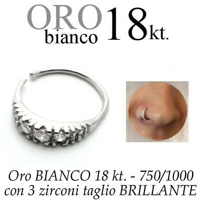 Piercing NASO cerchio anello ORO BIANCO 18kt. zirconi nose ring white GOLD 18kt