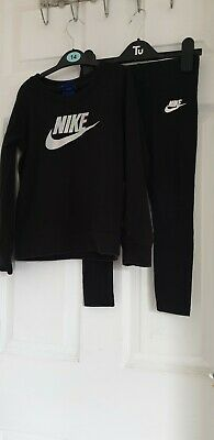 Nike Girls Black  Tracksuit Set Age 5-6 Years Excellent Condition