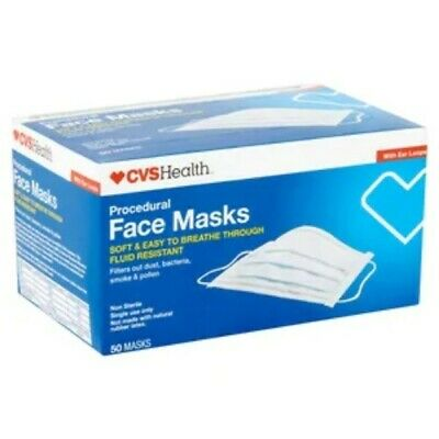 CVS Health Face Mask 3-Ply 50 Count Filters Out Dust Bacteria Smoke New