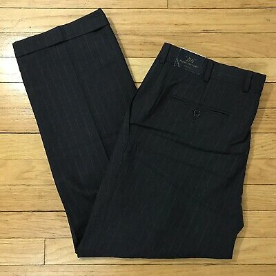Brooks Brothers Gray Striped Pleated Cuffed Wool Dress Pants Mens Size 36x29 NEW