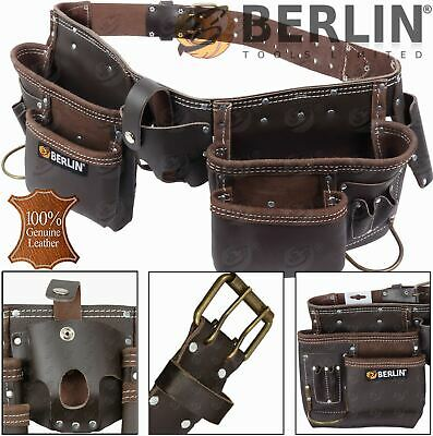 11pocket Leather Double Tool Pouch Nail Bag Work Apron Hammer Loop Podger Holder