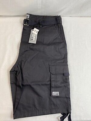 NWT Men's Pro Club Belted Charcoal Cargo Long Shorts size 42