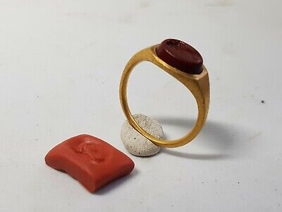 Roman Gold Ring with Bust Gemstone  2nd century AD