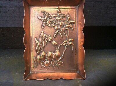 Antique Arts And Crafts Copper Card Tray.