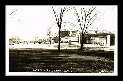 Us Postcard Real Photo River View With John Deere Factory In Horicon Wisconsin
