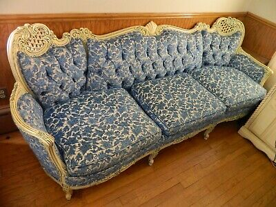 Victorian couch French Provincial sofa Hand Crafted Carved 12 PICS!! Blue White
