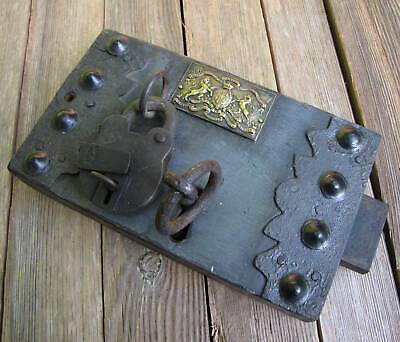 Antique Large Unusual Oak and Iron Door Lock with WORKING KEY
