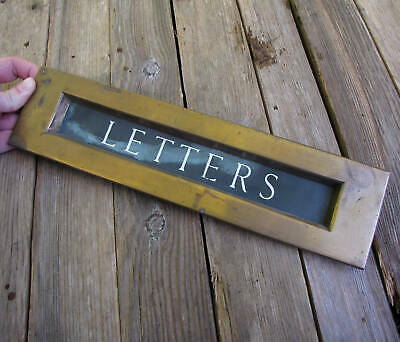 Large Antique Bronze Letter Box Plate with Enamel Lettering Door Mail Slot 13""