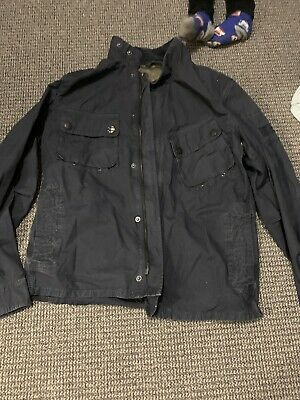 Barbour International Steve Mcqueen Washed Style Cotton Mens Jacket Navy Blue