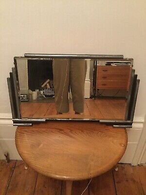 Vintage Art Deco Rectangular Mirror With Stepped Black & Chrome Edging & Chain .
