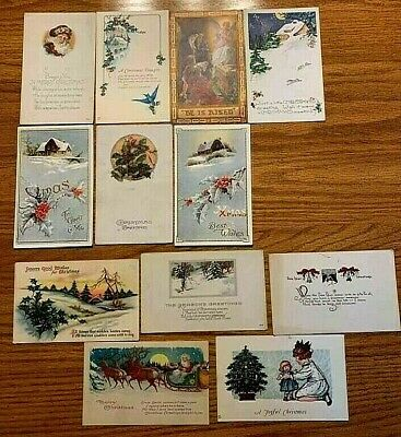 Lot of 12 Vintage Antique Christmas Postcards *Collectible 1920's