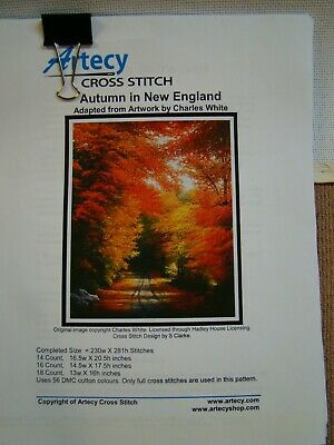 """Artecy Cross Stitch """"Autumn In New England"""", Canvas and Pattern"""