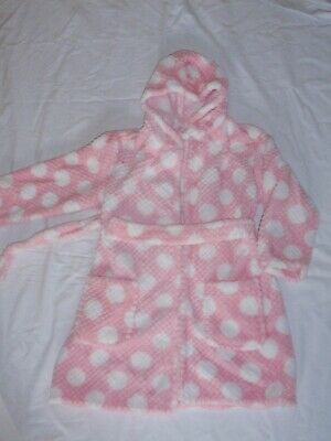 New pink/white fluffy dressing gown age 5-6 yrs by George. BNWOT