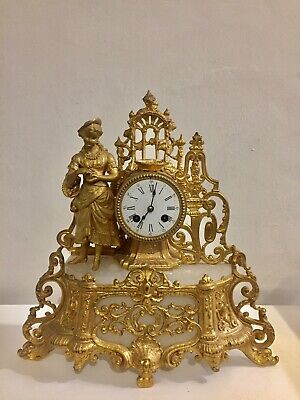 Antique French Gilt Metal And White Stone Figural Mantle Clock C1890