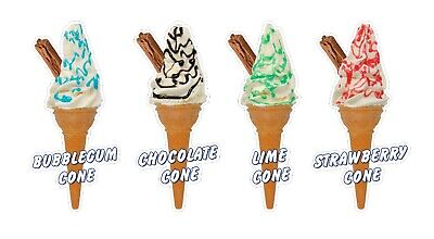 Whippy Ice Cream Cone Stickers Set of 4 Flavours - 16cm high die cut decals