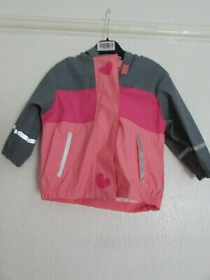 Nwt Pink/Grey Hooded Shower Resistant Coat Age 1/2 Years 4/6 Years