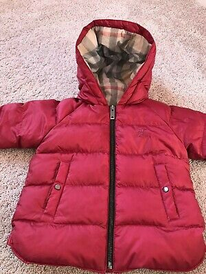 Burberry Children Red Coat Puffer Jacket Size 1-2 years
