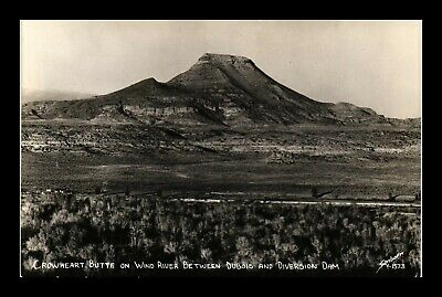 Us Postcard Crowheart Butte Between Dubois & Diversion Dam Wyoming Rppc