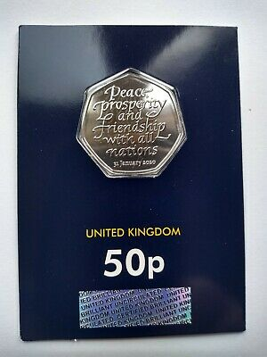 2020 UK WITHDRAWAL FROM EU BREXIT BU MINT SEALED 50p COIN