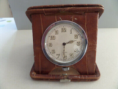 Vintage Swiss 8 Day Folding Travel Clock Crocodile Leather Case c.1920's