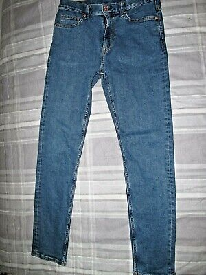 Mens H&M 30W 31L Blue Stretch Slim Fit Jeans Teen Boys Excellent Cond Stonewash