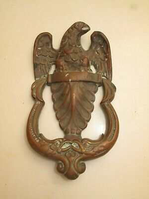 Vtg Antique Bronze Brass Eagle Doorknocker Patriotic Usa Nice Patina Stately