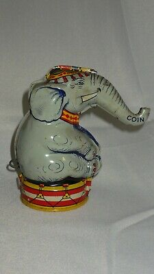 1940s Tin Litho Circus Elephant Coin Mech Bank- J. Chein Co - USA Working & Rare