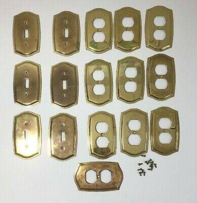 Lot of 16 Vtg Baldwin Brass Electrical Wall Switch Outlet Plates Beveled Edge