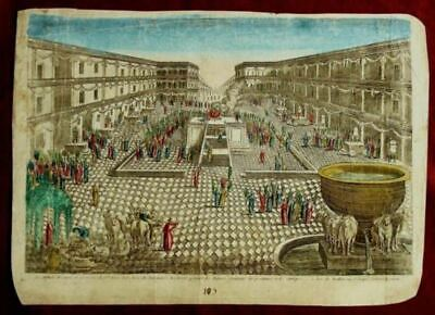 """Original 1750's Hand Painted Copper Engraving: """"Succoth Festival in The Temple"""""""