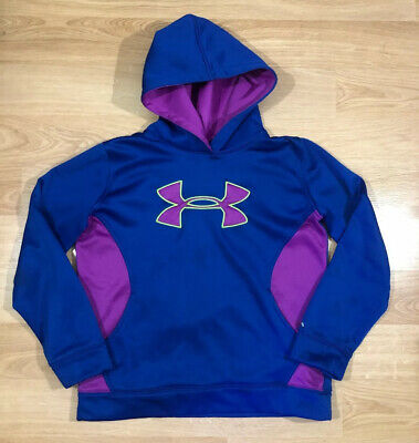 Girls UNDER ARMOUR Storm Hoodie YLG Loose Blue Purple Yellow