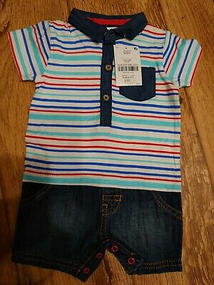 BNWT Next Boys Romper Outfit Jeans And Top Set Age 0-3 Months RRP £15